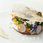 リヴァデリエトゥルスキ - 『仔牛のツナソース、小さなオーガニックサラダ添え里芋のチュイルとトリュフパウダー』