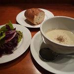 ビストロ ラングドシャ - 【ビストロ ラングドシャ】旬の野菜サラダ・ポタージュ・パン