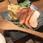 ささや - 鶏燻製といぶりがっこのポテトサラダ(530円)