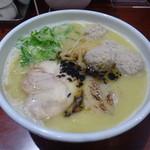 鶏だし中華そば かね壱 - 濃厚塩かけ+トッピングセットA+軟骨入り鶏団子