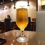 食べ門 - 半参鶏湯&生ビール 1080円 の生ビール