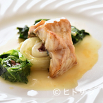 レストラン・バスク - 生ハムのダシがきいた野菜とともに味わう『ソイのグリエ レモンバターソース』