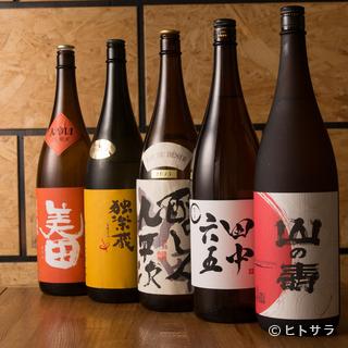 焼酎だけに有らず。日本酒にもこだわり多種多様な銘柄が充実
