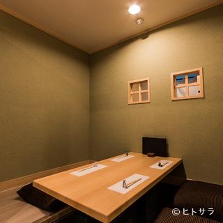 宴会にお勧めな掘りごたつ式の座敷の個室も完備