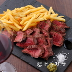 スリジエ - 大満足、肉本来の味をかみしめられるほどジューシーな『牛ハラミステーキとポテトフライ』