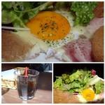 LeBRETON - ホンノリそば粉の風味がするガレット生地と卵やハムが合い、美味しい。 お野菜もタップリ添えられていて、これヘルシーかも。 ◆アイスコーヒー(+110円)は量が少ないので、もう少し欲しいところ。