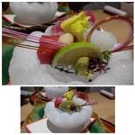 萬象閣 敷島 - 料理写真:◆氷の器の旬のお造り・・「中トロ・山かけこのわた香り」「鯛」「ヤリ烏賊」 氷で作られた器が美しいですね。網がのせられているのでお刺身が直接触れず水っぽくならないのもいいですし・・ 「中トロ」がいい味わいでした。