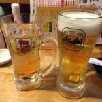 66086474 - 生ビール(280円)&ジンジャーハイボール(380円)