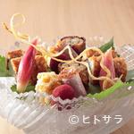 日本料理 櫻川 - 旬の味わい『季節の八寸(鱧ずし・鴨ロース煮・ともろこしかき揚げ・山桃ワイン煮・鰻八幡巻き)』