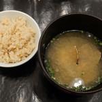 HIGASHIYA GINZA - アサリの味噌汁、玄米
