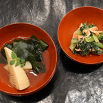 HIGASHIYA GINZA - 桜エビと小松菜の和え物、若竹煮