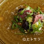 Obase - 『京都牛のヒウチ炭火焼と水茄子とセルバチコと巨峰のサラダ』