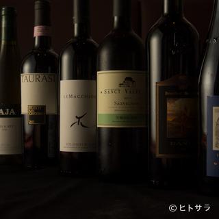 約80銘柄以上のイタリア産が揃い、季節に合うグラスワインも