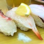 天下寿司 - 塩レモン三種盛185円