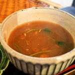 松吟庵 - 蔵王豚の角煮つけ蕎麦 定食(蕎麦湯)
