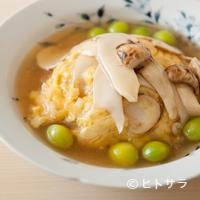銀座 やまの辺 江戸中華 - ふわりとした卵炒めに秋の味覚を代表する2つの香りを織り交ぜた『松茸の卵炒め』