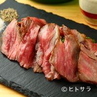 銀座魚勝 - 独特の甘味と牛脂肪のみでも調味料として活きる『尾崎牛ロース芯 ステーキ』