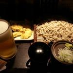 さ竹 - もりそば&鶏天&生ビール2017.4.26