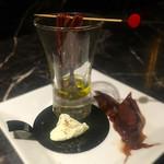 Caballito de mar - ホタルイカの沖漬けとクリームチーズ