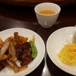 66171381 - [料理] 黒酢の酢豚 & 焼売2種