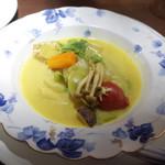 欧風バル・マザン - 春野菜とペンネの具だくさんスープ(880円)