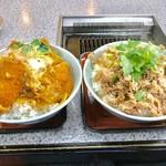 66192790 - カツ丼(大盛)+和豚もち豚丼(大盛)【料理】