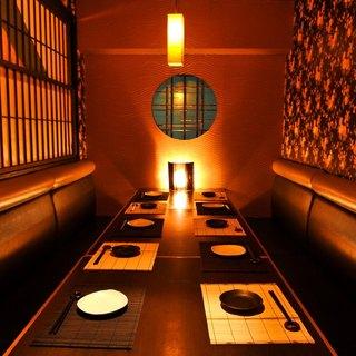 和情緒溢れる店内空間。寛ぎの個室でゆったり宴会・飲み会