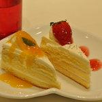 サロン・ド・テ ルミエル - マンゴーのショートケーキ、イチゴのショートケーキでスタート