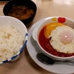 松屋 - トマトチーズエッグハンバーグ定食