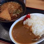 おか田 - カレーセット(600円)+たぬき・きつね(サービス)