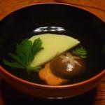 農家レストラン 愚為庵 - 汁物 (タケノコ、シイタケ、ニンジン、三つ葉)