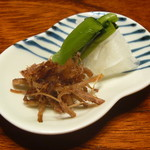 農家レストラン 愚為庵 - 香の物 (シイタケの軸のキンピラ、ダイコン、野沢菜)