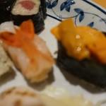 入舟 - [料理] ボタン海老 握り & 雲丹 軍艦巻き
