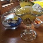レアレア&レアレア - パイナップルゼリー&アイスクリーム。