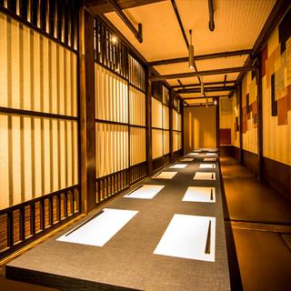 こだわりの上質な完全個室へご案内致します。銀座で個室宴会なら