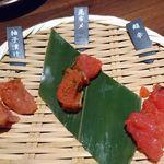 九州 熱中屋 - お通し:明太子テイスティング三種