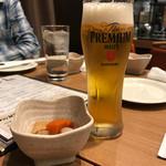 広島お好み焼き・鉄板焼き 倉はし - 生ビールとお通し