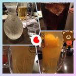 こだわりやま - 凍結コーラと凍結ビール(o^^o)清見オレンジハイボールと九平次