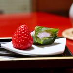 湯之島館 - 苺、桜餅