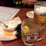 旨唐揚げと居酒メシ ミライザカ - 生ビール、ジムビームハイボール