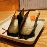 根津 たけもと - 新海苔のおにぎり 浅蜊の佃煮 と 明太子