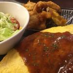 ライラック - ハンバーグ&唐揚げ オムライス(スープ・サラダ付き)(¥1200)