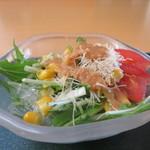 有磯 - 水菜、コーン、海藻クリスタル、トマト、カダイフ揚げのサラダアップ