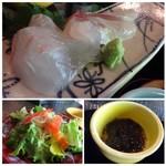 Go-Coo - ◆上・・鯛は普通、カンパチはハラミですので程よい脂を感じ好み。 ◆左下:野菜サラダ・・お野菜は普通ですけれど、少しピリ辛感を感じるドレッシングがいいお味でした。 ◆右下:もずく。