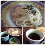 66312721 - ご飯セットか、島原手延べうどん(温または冷)から選べます。 ◆島原手延べうどん 乾麺ですが、滑らかな喉ごしの麺。ツユは少し甘めの薄味。