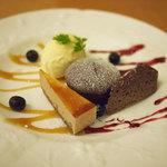 ダイニングキノシタ - バニラアイスクリームとガトーショコラの盛り合わせ