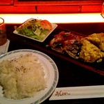 あんとれ - 日替りランチ 鶏肉と葱のソテー&トンプラ \734(税込)
