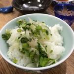 らかん寿し 松月 - 女将さん手作りのお新香を白飯でいただきました。この後お茶漬けに!