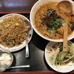66356134 - 【2017.4.25】豚バラチャーハンと担々麺のセット¥1020