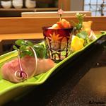 日本料理 旬菜和田 - 向付 金目鯛、閖上の赤貝、帆立貝柱の炙り